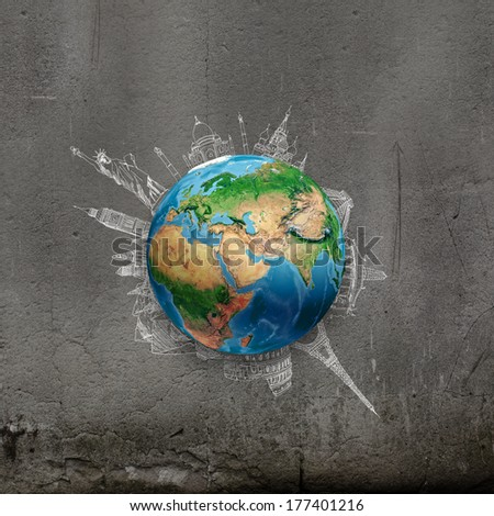 Earth planet on dark background with pencil sketches. Elements of this image are furnished by NASA - stock photo