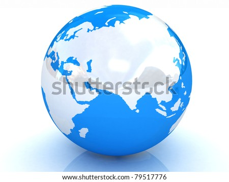 Earth planet on white - stock photo