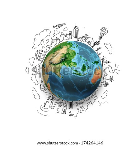 Earth planet on white background with pencil sketches. Elements of this image are furnished by NASA - stock photo