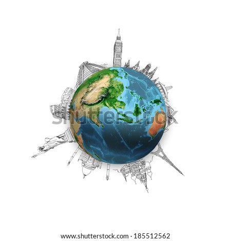 Earth planet on white background with pencil sketches. Elements of this image are furnished by NASA