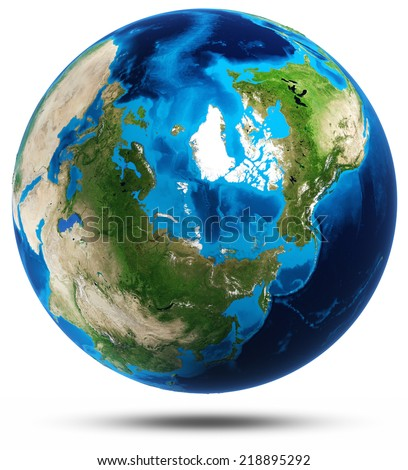 Earth planet real mountains relief. Elements of this image furnished by NASA - stock photo