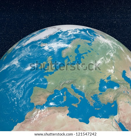 Earth planet showing european continent in the universe surrounded with plenty of stars - stock photo