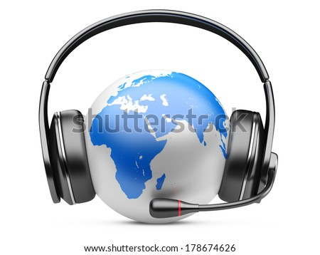 Earth planet with earphones and microphone. 3d illustration isolated on a white background.