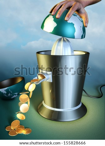 Earth resources are squeezed out using a juicer. Digital illustration. - stock photo