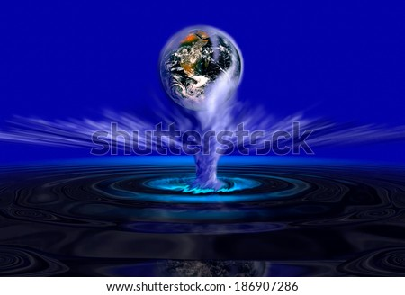 Earth rising out of glowing water -  Elements of this image furnished by NASA - stock photo