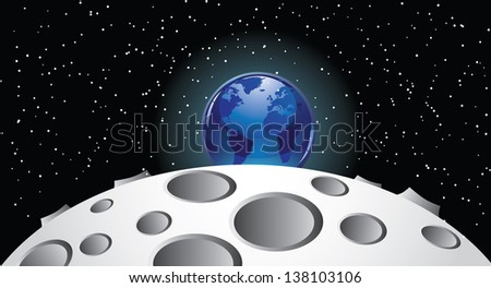 Earth rising over the moon. jpg.  - stock photo