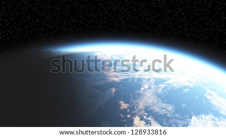 Earth's atmosphere is shining dawn - stock photo