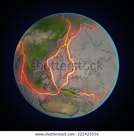 Earth's fault lines between tectonic plates in the East Asia region - stock photo