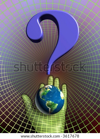 Earth's future: our planet became part of a question mark, held by a cybernetic hand. Digital illustration. - stock photo