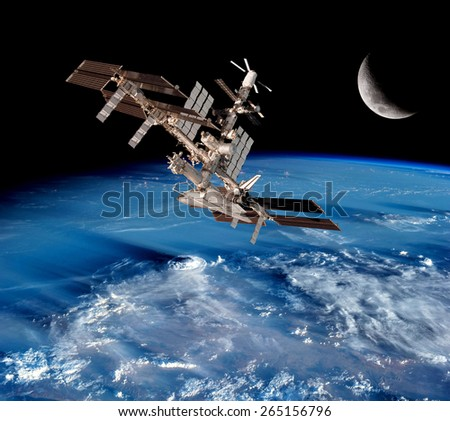 Earth satellite space station global network connection moon. Elements of this image furnished by NASA. - stock photo