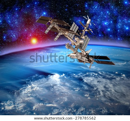 Earth satellite space station spaceship orbit weather meteorology. Elements of this image furnished by NASA. - stock photo