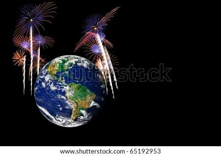 Earth selection with fireworks in the background - stock photo