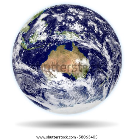 Earth. Shaded relief. Clouds map comes from http://visibleearth.nasa.gov - stock photo