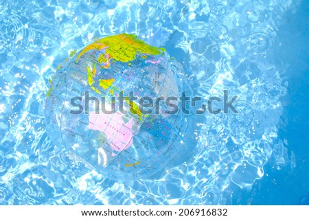 Earth-Shaped Beach Ball Floating On The Water