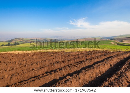 Earth Soil Grooves Farming Earth soil grooves over field for crop planting on rural countryside farm lands. - stock photo
