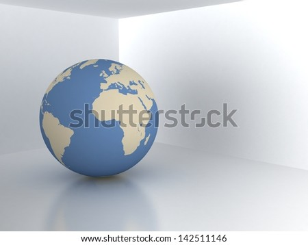 Earth sphere in room. real estate symbol