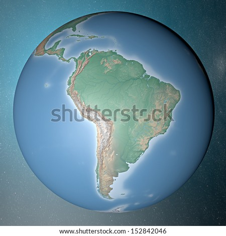Earth standing on clean space. South America