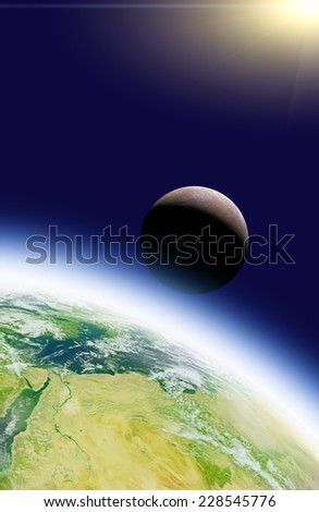 Earth, stars, Moon and sunrise/sunset on a starless background. Elements of this image furnished by NASA.  - stock photo