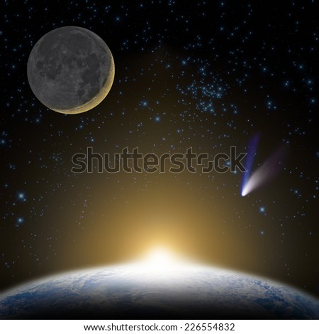 Earth, stars, Moon, comet and sunrise/sunset. Elements of this image furnished by NASA.  - stock photo