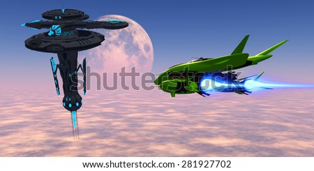 Earth Station 007 - A shuttle from an Earth base makes its way with supplies to a space station in orbit over the planet. - stock photo