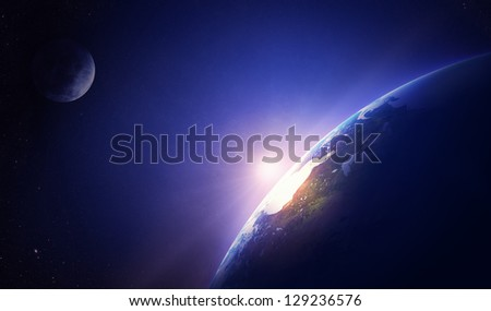 Earth sunrise North America (Elements of this image furnished by NASA- earthmap  http://visibleearth.nasa.gov) - stock photo
