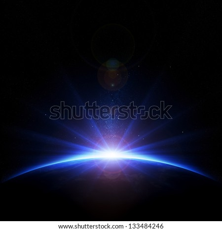 Earth - sunrise with rays and lens flare - stock photo