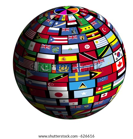 Earth surface is tiled over with flags of all nations - stock photo