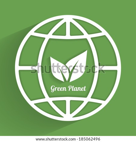 earth symbol with eco icons inside in retro flat design  template raster version - stock photo