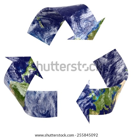 Earth Texture Recycling Symbol - Elements of this image furnished by NASA - stock photo