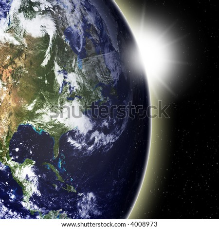 Earth view as seen from outer space