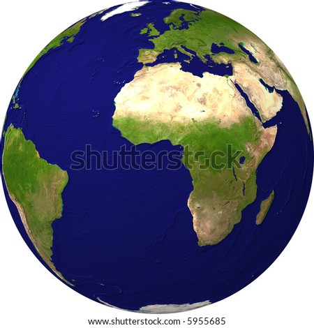 Earth view from a satellite - stock photo