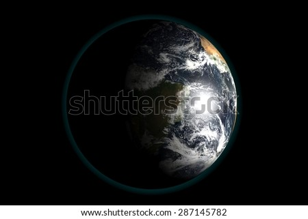 Earth view from outer space. 3d render illustration. Elements of this image furnished by NASA.