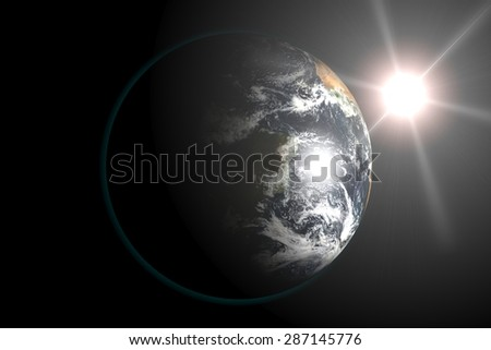 Earth view from outer space, Sun in the Background. 3d render illustration. Elements of this image furnished by NASA. - stock photo