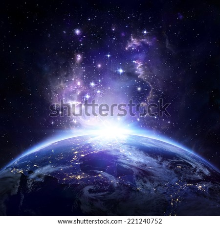 Earth view from space at night -  USA, elements of this image furnished by NASA  - stock photo