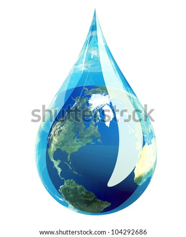 Earth water drop. Elements of this image furnished by NASA. - stock photo