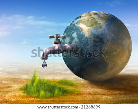 Earth water resources generating new life. Digital illustration. - stock photo