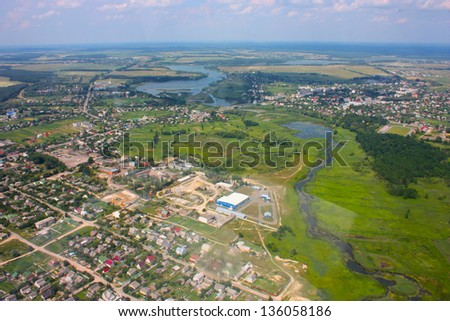 earth  wing view from an illuminator - stock photo