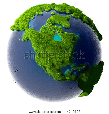 Earth with a pure transparent ocean is completely covered with lush green grass - a symbol of a clean environment, rich in natural resources and good environmental conditions