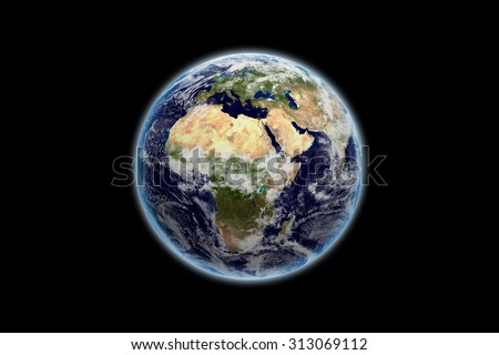 Earth with Africa continent - Elements of this image furnished by NASA - stock photo