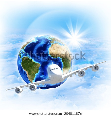 Earth with airplane against clouds and sun. Elements of this image are furnished by NASA - stock photo