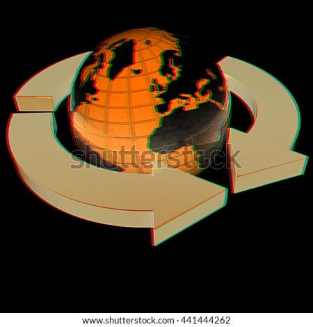 Earth with arrows on a black background. 3D illustration. Anaglyph. View with red/cyan glasses