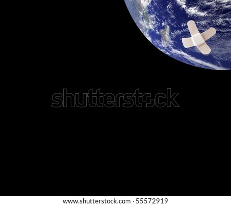 Earth with bandages - stock photo