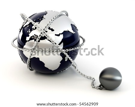 Earth with chain. 3d - stock photo