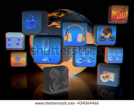 Earth with cloud of media application Icons on a black background. 3D illustration. Anaglyph. View with red/cyan glasses to see in 3D. - stock photo