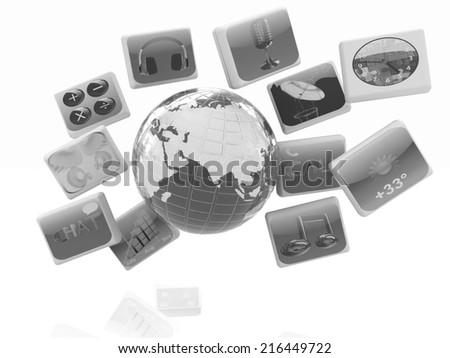 Earth with cloud of media application Icons on a white background