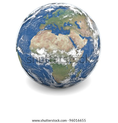 Earth with clouds and atmosphere isolated on white background