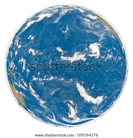 Earth with clouds and atmosphere isolated on white background facing Pacific Ocean. Elements of this image furnished by NASA - stock photo