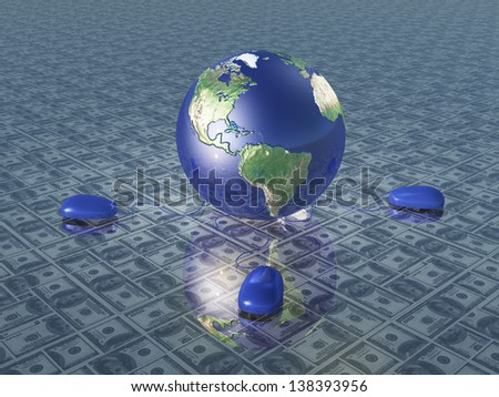 Earth with computer mice upon dollar surface - stock photo