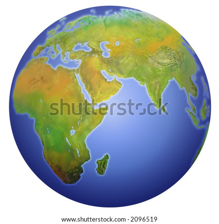 Earth with Europe, Asia, and Africa. Painstakingly detailed with electronic tablet.