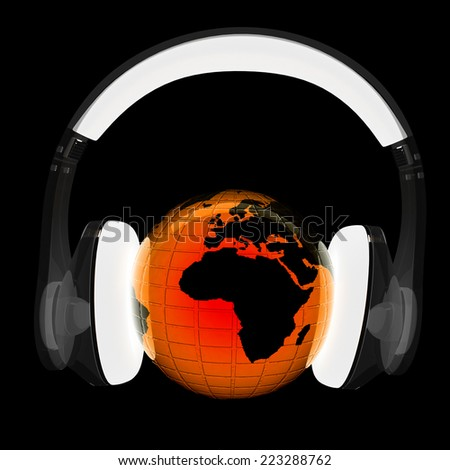 Earth with headphones from transparent plastic. World music concept isolated on black - stock photo